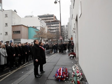 French president Emmanuel Macron at a commemoration of the Charlie Hebdo attack. Reuters