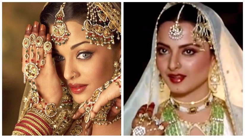 Aishwarya Rai Bachchan and Rekha in their respective versions of Umrao Jaan