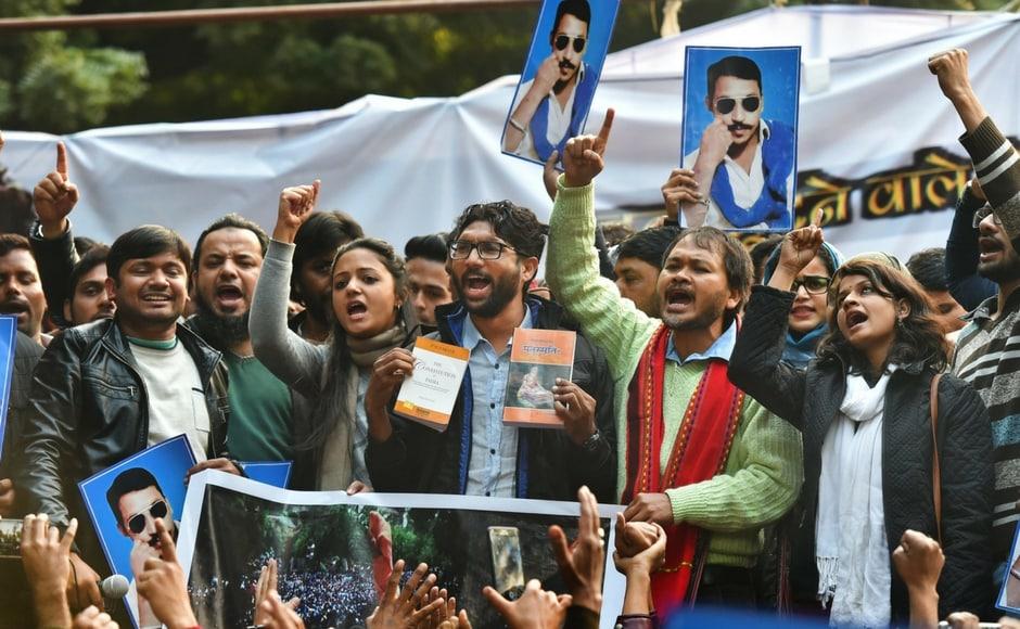 Former and current JNU student leaders, including Kanhaiya Kumar, Shehla Rashid and Umar Khalid, and Assam peasant leader Akhil Gogoi joined the newly-elected Gujarat MLA's Yuva Huntar rally in Delhion Tuesday. PTI