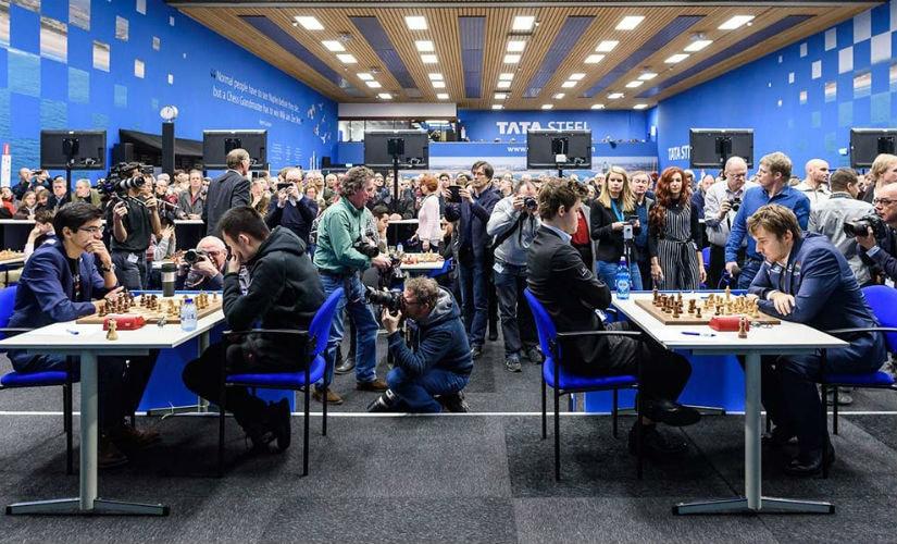 Anish Giri and Magnus Carlsen in their final round game. Image credit: Alina L'ami
