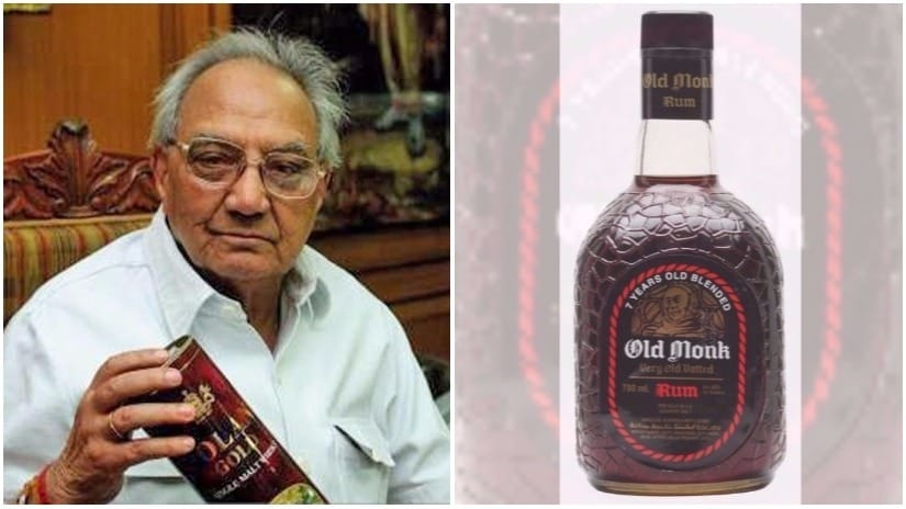 Brigadier (retd.) Kapil Mohan, and the iconic squat bottle of Old Monk rum. File Photo