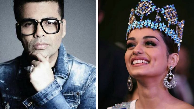 Karan Johar (left); Manushi Chhillar (right). Facebook