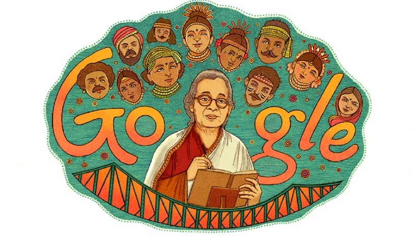 The Google Doodle commemorating Mahasweta Devi
