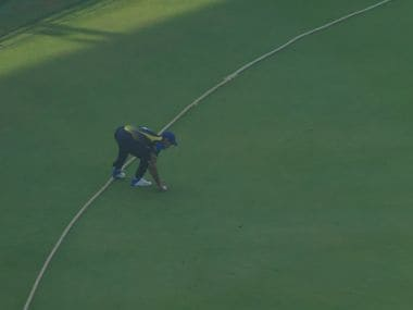 Mehdi Hasan's left foot was touching the boundary rope and Karnataka were awarded two runs shortly before the second innings began. Screengrab