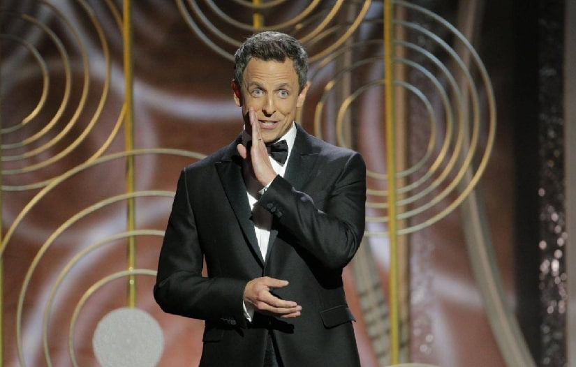 Seth Meyer's hosting the 2018 Golden Globe Awards. Image from Twitter/@Independent.
