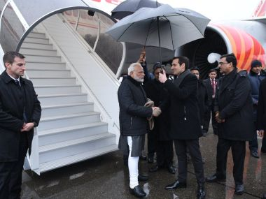 Prime Minister Narendra Modi on his arrival at Zurich. Twitter/@PMOIndia