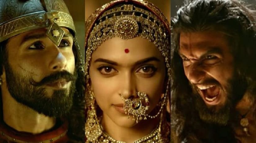 Shahid Kapoor, Deepika Padukone and Ranveer Singh in Padmaavat. Images via YouTube screengrabs