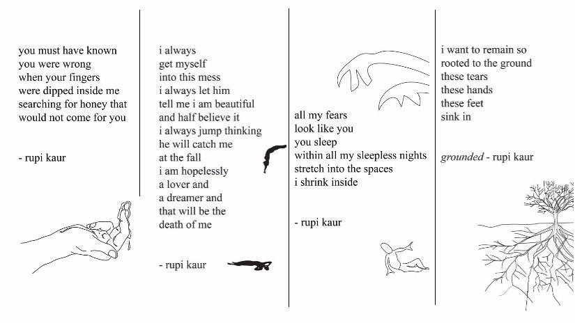 From RUpi Kaur's 'Milk and Honey'. Images courtesy Facebook/@rupikaurpoetry