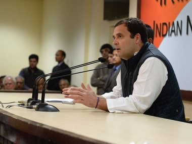 Congress president Rahul Gandhi addressing the media on Friday. Twitter/@INCIndia