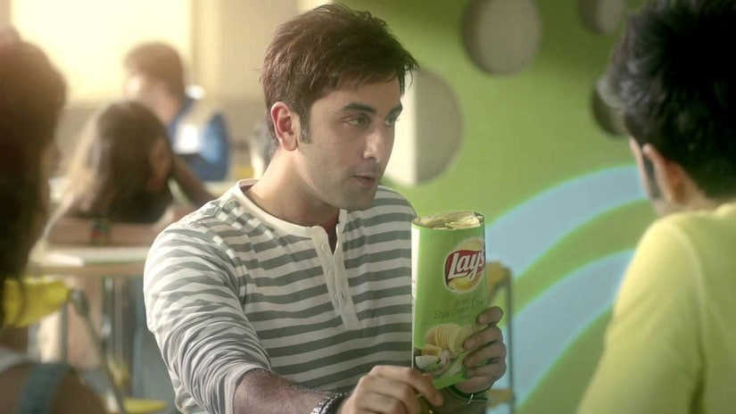 Ranbir Kapoor in an ad for Lays. Youtube screengrab