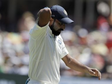 India's Mohammed Shami fields during the first day of the second Test against South Africa. AP