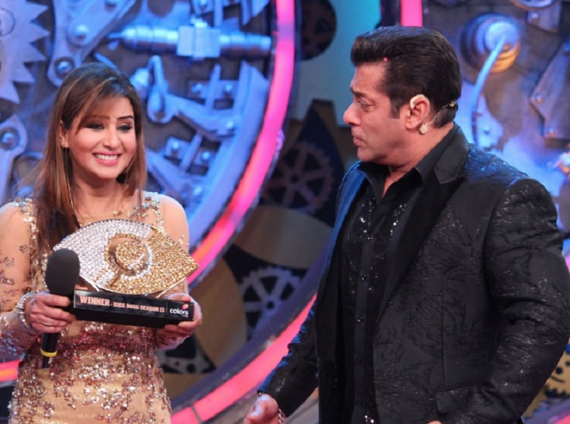 Shilpa Shinde with Salman Khan. Image from Twitter/@raghuvendras