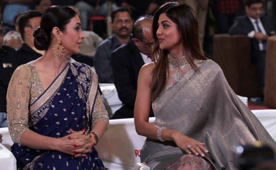 Tabu and Shilpa Shetty exchange notes. Photo: Firstpost/Sachin Gokhale