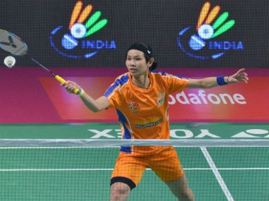 Tai Tzu Ying in action during her clash against Saina Nehwal. Image courtesy: Twitter/@PBLIndiaLive