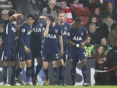 Tottenham players celebrate Harry Kane's goal against Southampton. AP