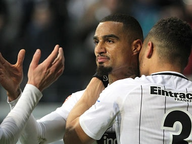 Frankfurt's Ghanaian midfielder Kevin-Prince Boateng celebrates scoring the 2-1 during the German First division Bundesliga football match Eintracht Frankfurt vs RB Leipzig in Frankfurt, Germany, on February 19, 2018. / AFP PHOTO / Daniel ROLAND / RESTRICTIONS: DURING MATCH TIME: DFL RULES TO LIMIT THE ONLINE USAGE TO 15 PICTURES PER MATCH AND FORBID IMAGE SEQUENCES TO SIMULATE VIDEO. == RESTRICTED TO EDITORIAL USE == FOR FURTHER QUERIES PLEASE CONTACT DFL DIRECTLY AT + 49 69 650050