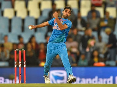 India's Bhuvneshwar Kumar bowls during the second T20I cricket match between South Africa and India at Super Sport Park Stadium in Pretoria on February 21, 2018. / AFP PHOTO / Christiaan Kotze