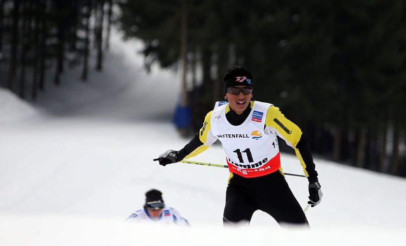India's Jagdish Singh competes on February 20, 2013 during the Men's Cross Country 10 km qualification race of the FIS Nordic World Ski Championships at Val Di Fiemme Cross Country stadium in Cavalese, northern Italy. AFP PHOTO / PIERRE TEYSSOT / AFP PHOTO / Pierre Teyssot