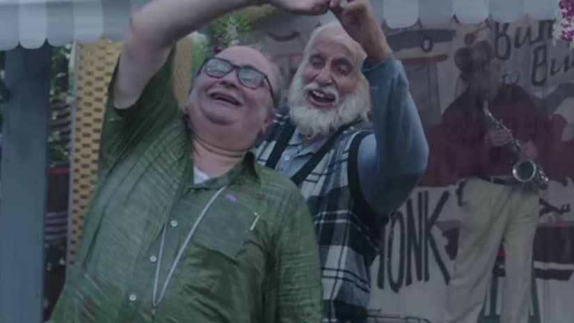 Rishi Kapoor and Amitabh Bachchan in a still from 102 Not Out. YouTube screengrab