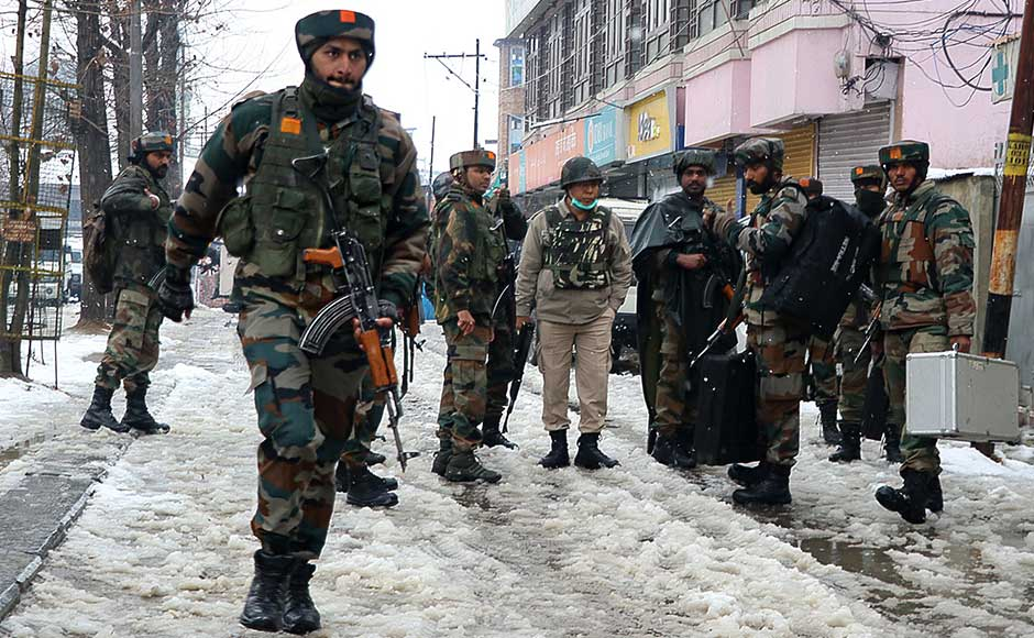 A gunfight broke out between security forces and militants after their attempt to strike a CRPF camp in Srinagar was foiled, killing a paramilitary jawan, officials said on Monday. Firstpost/Sameer Mushtaq
