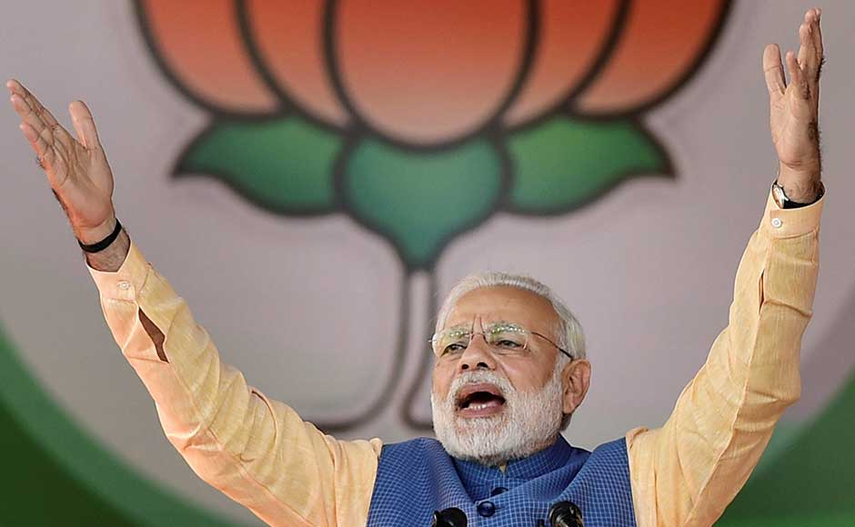 Prime Minister Narendra Modi addressed a public rally of over 2 lakh people at Palace Grounds in Bengaluru on Sunday. PTI