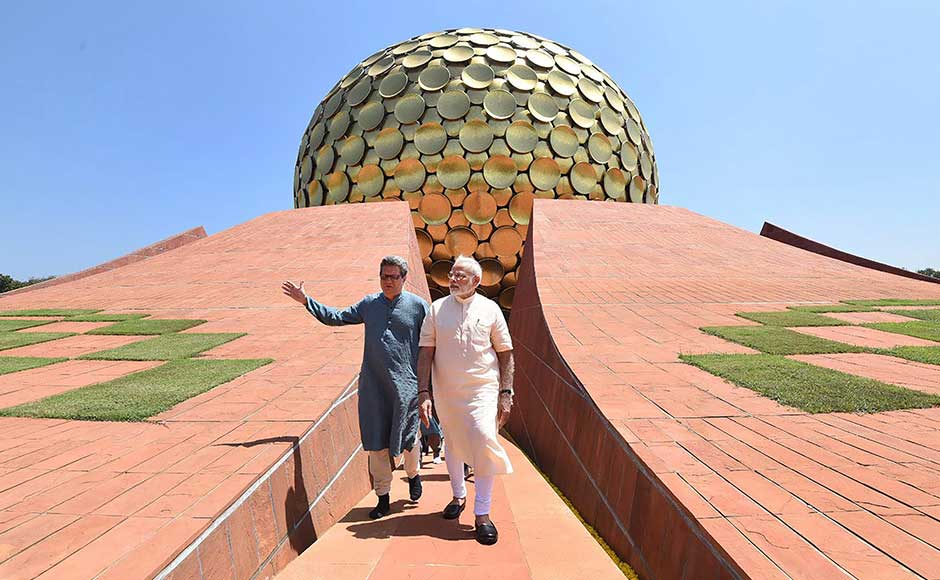Prime Minister Narendra Modi on Sunday said India has been the spiritual destination for the world for ages and always allowed mutual respect and coexistence of different religions and culture. Modi at the Matri Mandir in Auroville, Puducherry. PTI
