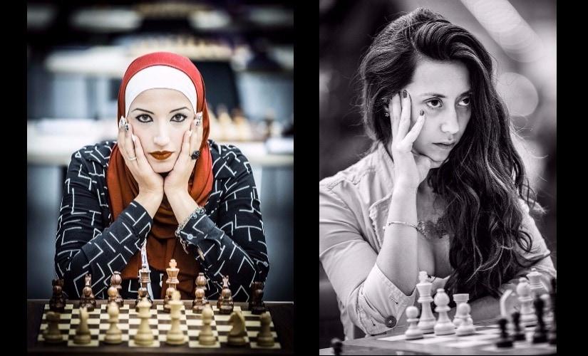 (L) Alshaeby Razan (Jordan); (R) Damaris Abarca (Chile), 2016 Baku Chess Olympiad. Photo © David Llada