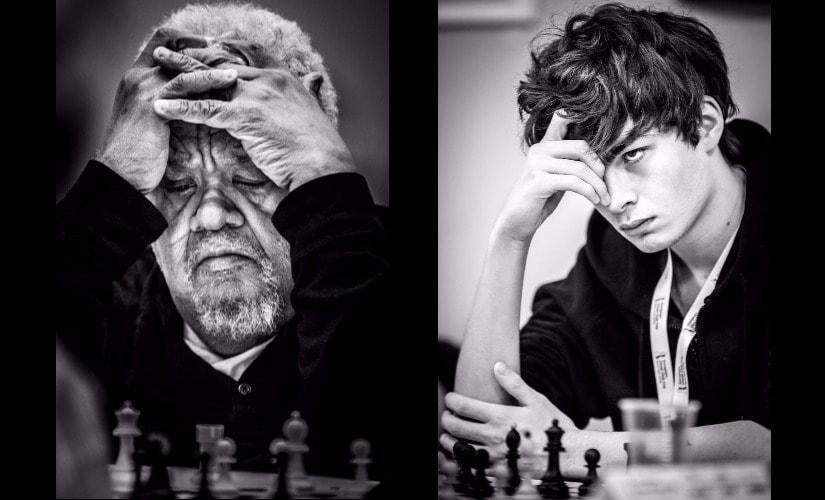 (L) Contestant at 2016 Millionaire Chess Open, Atlantic City; (R) Jorden van Foreest (Netherlands), 2016 Novi Sad, European Teams Championship. Photo © David Llada