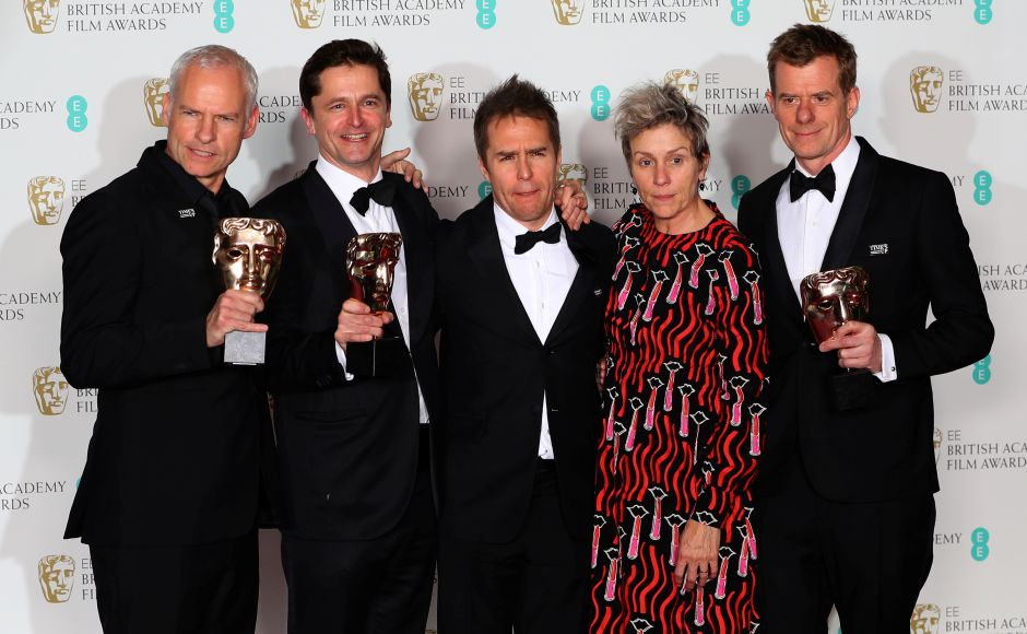Three Billboards dominates with five wins at blacked out Baftas 2018
