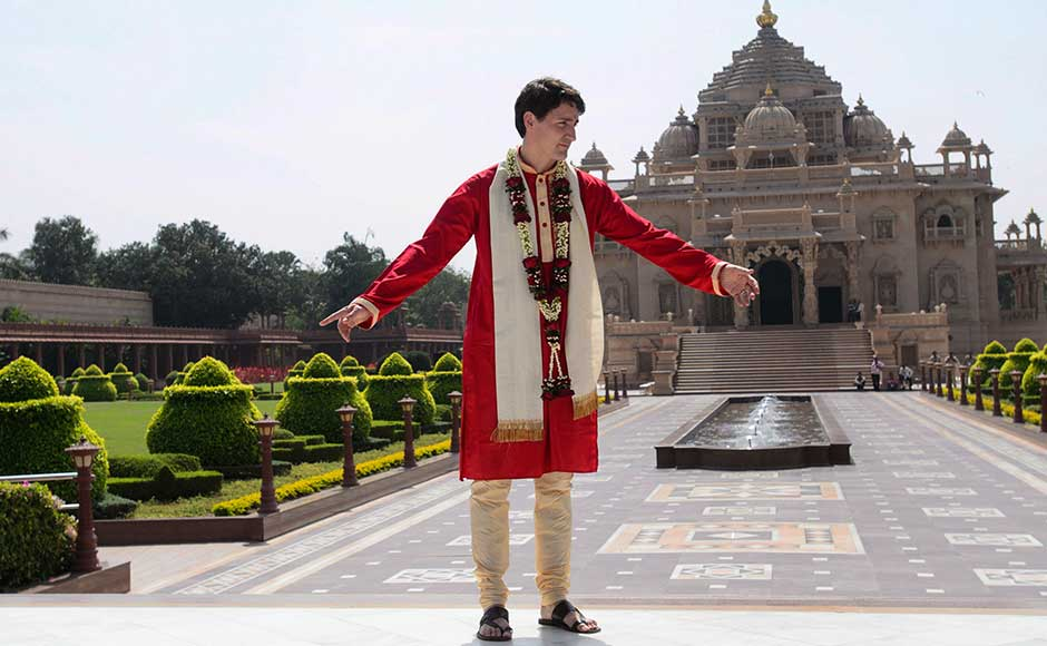 Trudeau appearing at ease, sported an attractive red bandhgala kurta accompanied by a cream-coloured churidar and even a matching stole. Similarly, his wife Sophie Gregoire Trudeau was in a bright yellow long kurta, sporting a completely traditional Indian look. AP
