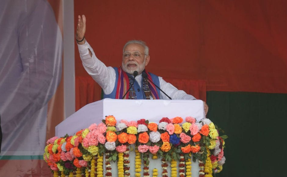 Modi asked voters to give BJP a chance to serve the state, promising that they  will ensure good governance guided by the philosophy of sabka saath, sabka vikas. He also promised that the Meghalaya's BJP government will account for work and every penny being spent. Firstpost/Rishiraj Bhagawati