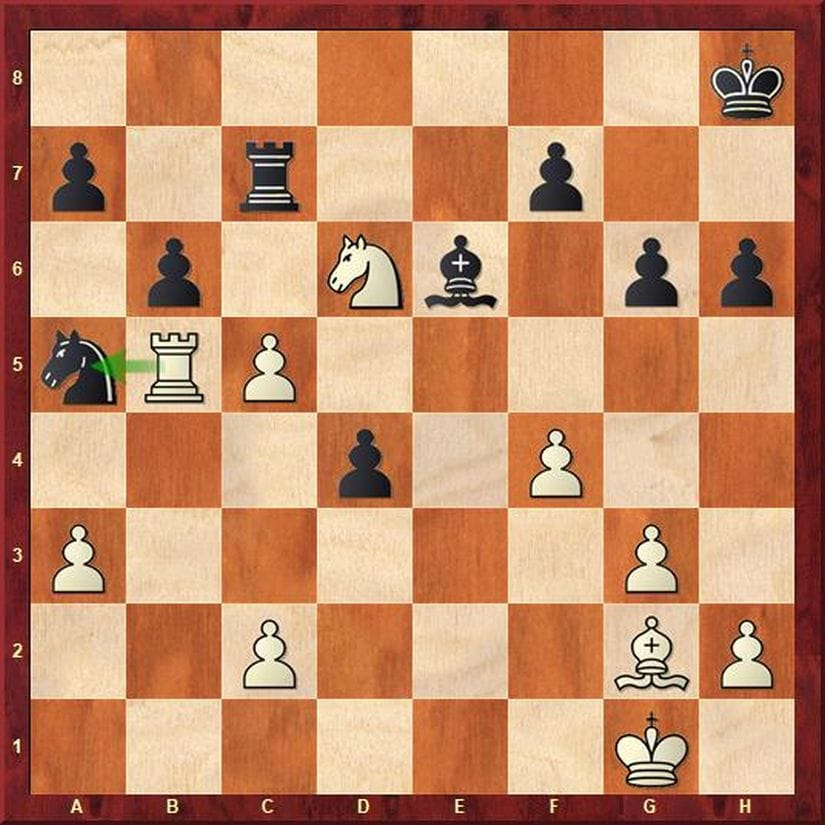 In this position, instead of calmly exchanging pawns on the queenside, Adhiban chose to stir things up by giving up his rook for the black knight