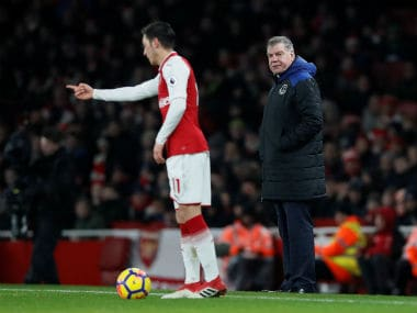 Everton manager Sam Allardyce watches on from the sidelines against Arsenal. Reuters