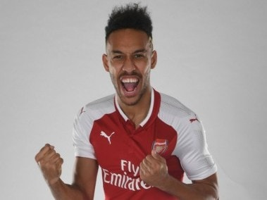 Pierre-Emerick Aubameyangs signing was announced by Arsenal on Wednesday. Image courtesy: Twitter/@Arsenal