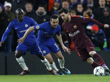 Barcelona's Lionel Messi (right) vies with Chelsea's Pedro (centre) and N'Golo Kante on Tuesday. AFP