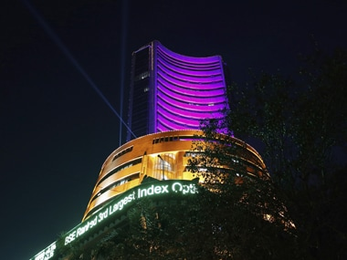 The Bombay Stock Exchange building is illuminated during the Diwali special trading session in Mumbai