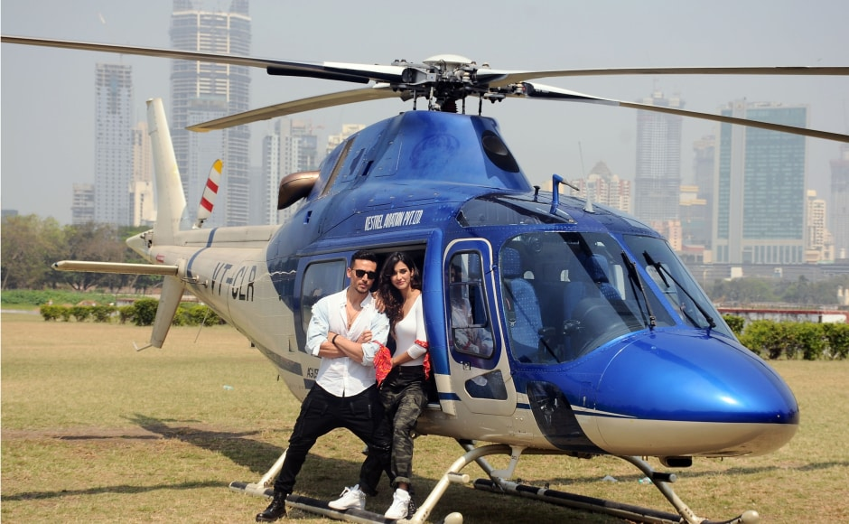 The idea behind this promotional move goes beyond grabbing eyeballs as the helicopter is also a character in their film. Photo by Firstpost/Sachin Gokhale