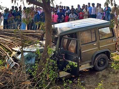 The vehicle being driven by BJP leader Manoj Baitha in Muzaffarpur. PTI