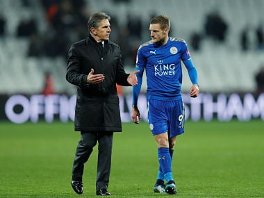 File image of Leicester City manager Claude Puel and Jamie Vardy. Reuters