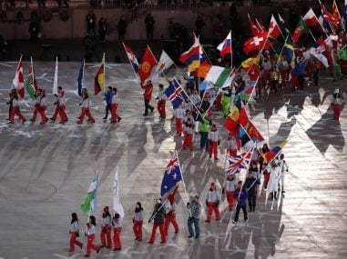 Flag bearers during the closing ceremony of the Pyeongchang 2018 Winter Olympics. Reuters