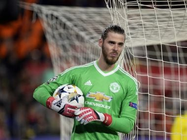 Manchester United's David de Gea reacts during the Champions League match against Sevilla FC. AFP