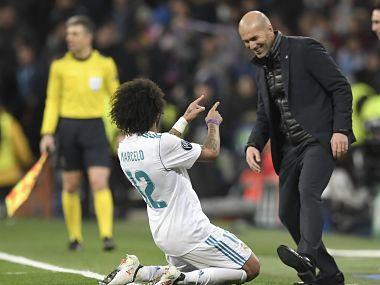 Marcelo celebrates his goal with Zinedine Zidane. Image courtesy: Twitter @ChampionsLeague
