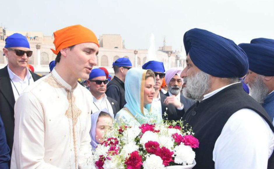 Trudeau visited the Golden Temple where he was welcomed by former deputy chief minister Sukhbir Singh Badal and Union minister Harsimrat Kaur. Twitter @officeofssbadal