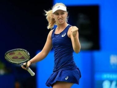 Daria Gavrilova celebrates winning a point at the Mexican Open. Image courtesy: Twitter @WTA