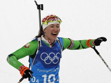 Darya Domracheva of Belarus celebrates after winning the gold medal. Reuters