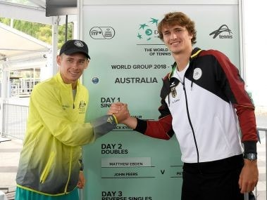 Alex de Minaur and Alexander Zverev during the Davis Cup draw. Image courtesy: Twitter/@TennisAustralia