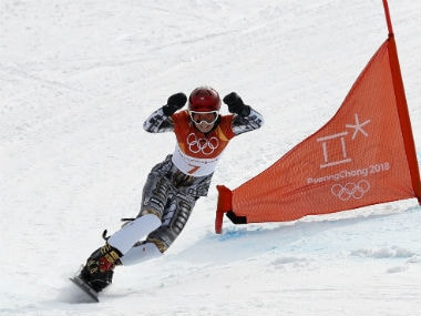 Ester Ledecka reacts after winning the Women's Parallel Giant Slalom. Reuters