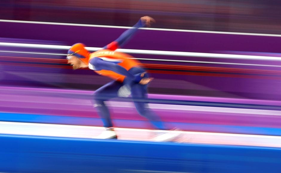 Kjeld Nuis of the Netherlands stormed to gold ahead of compatriot Patrick Roest in the men's speed skating 1,500m. Reuters