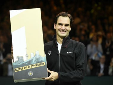 Switzerland's Roger Federer celebrates after victory over Netherlands Robin Haase in their quarter-finals clash at the Rotterdam Open. AFP