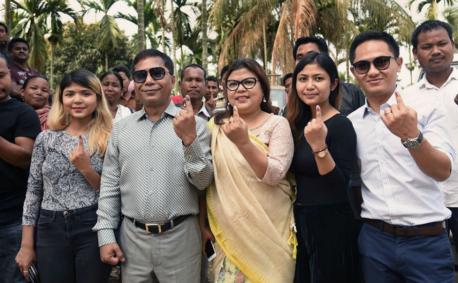 Chief Minister Mukul Sangma along with his family exercised his franchise at a polling booth in Chengkompara. Voters were seen queueing up at polling stations across the state since Tuesday morning. PTI